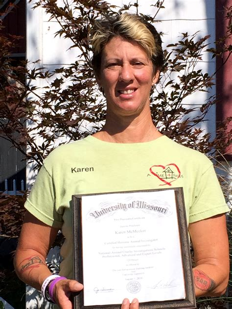 "Karen McMeekin Proclaimed ""CERTIFIED HUMANE ANIMAL INVESTIGATOR"""